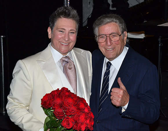 Legendary singer Tony Bennett congratulated k.d. lang, his friend and frequent collaborator, following her first performance in After Midnight.