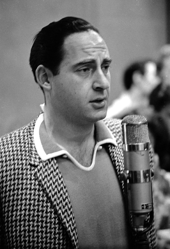 Sid Caesar records a track for the original Broadway cast recording of Cy Coleman, Carolyn Leigh, and Neil Simon's musical Little Me in 1962.