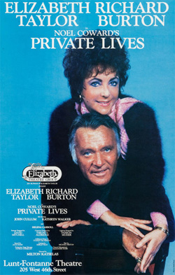 The show poster for the Elizabeth Taylor-Richard Burton production of Private Lives.
