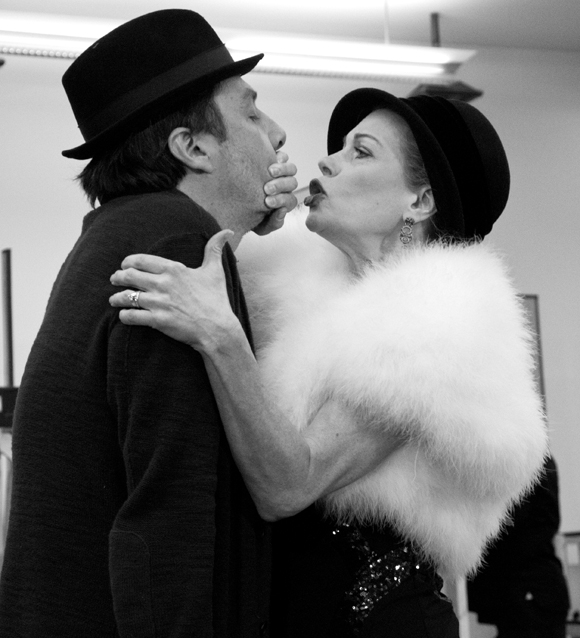 Don't Speak! Zach Braff and Marin Mazzie preview the new musical Bullets Over Broadway at the New 42nd Street Studios.