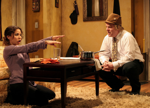 Daphne Rubin-Vega as Lucy and Philip Seymour Hoffman as Jack in LAByrinth Theater Company's 2007 production of Bob Glaudini's Jack Goes Boating, directed by Peter DuBois.