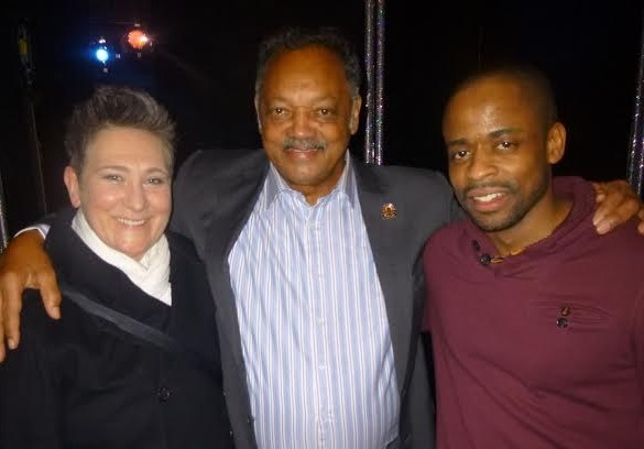 After Midnight stars k.d. lang (left) and Dulé Hill (right) with civil rights activist Jesse Jackson.