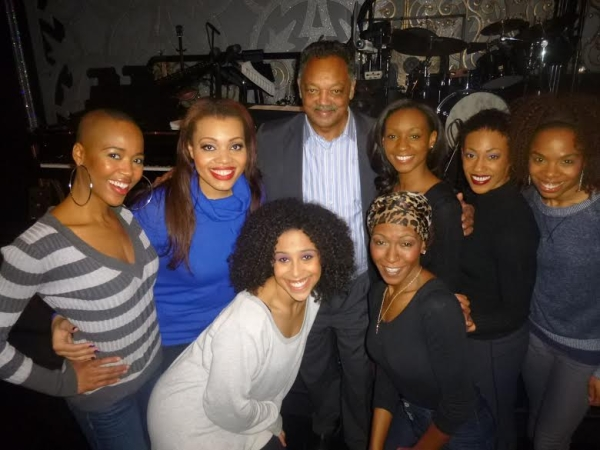 Rev. Jesse Jackson with the ladies of Broadway's After Midnight.