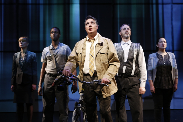 Robert Cuccioli stars in Thomas F. Flynn's Bikeman at BMCC Tribeca Performing Arts Center, alongside Angela Pierce, Irungu Mutu, Richard Topol, and Elizabeth Ramos.