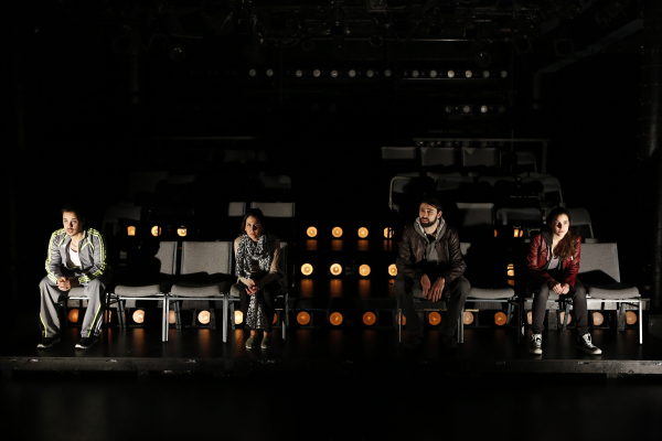 Rachid Sabitri, Francis Benhamou, Damon Owlia, and Dahlia Azama in Jonas Hassen Khemiri's I Call My Brothers, directed by Erica Schmidt at the New Ohio Theatre.