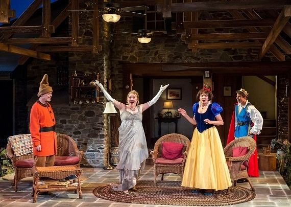 Mark Blum as Vanya, Kristine Nielsen as Sonia, Christine Ebersole as Masha, and David Hull as Spike in Christopher Durang's Vanya and Sonia and Masha and Spike, directed by David Hyde Pierce, at Center Theatre Group/Mark Taper Forum in Los Angeles.