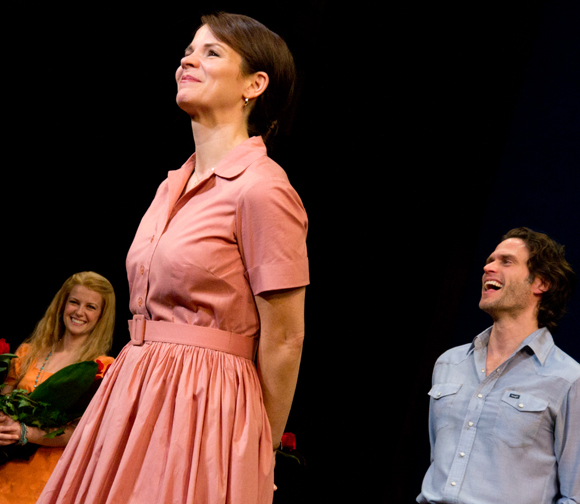 As Whitney Bashor and Steven Pasquale look on, Kelli O'Hara takes her bow onstage in The Bridges of Madison County.