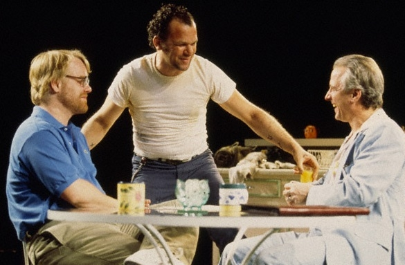 Philip Seymour Hoffman, John C. Reilly (center), and Robert LuPone in the 2000 Broadway revival of Sam Shepard's True West, directed by Matthew Warchus.