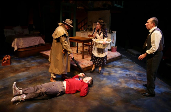 Will McGarrahan, Kelby T. Akin, Paula Plum, and Ken Baltin in Arthur Miller's Death of a Salesman, directed by Spiro Veloudos, at Boston's Lyric Stage Company.