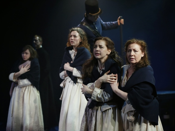 Emily Skeggs, Pearl Rhein, Jessica Grové, and Terry Donnelly play four Irish convicts on a prison transport to Australia in Larry Kirwan and Thomas Keneally's Transport, now making its world premiere at the Irish Repertory Theatre in a production directed by Tony Walton.