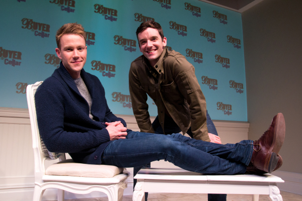 Christopher J. Hanke and Michael Urie on the set of Buyer and Cellar at the Barrow Street Theatre.