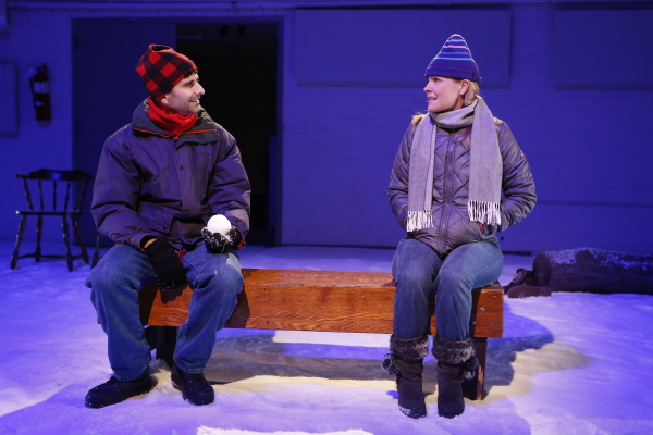 John Cariani and Kelly McAndrew play Pete and Ginette in the Transport Group production of Cariani's Almost, Maine, which will be taped for the New York Public Library's archive on February 27.