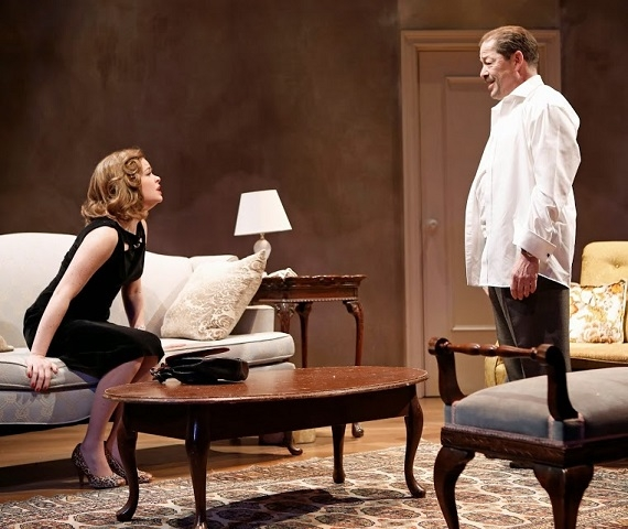 Nicole Lowrance as Betty and Jonathan Hadary as Jerry in the Keen Company's presentation of Paddy Chayefsky's Middle of the Night, directed by Jonathan Silverman, at the Clurman Theatre at Theatre Row.