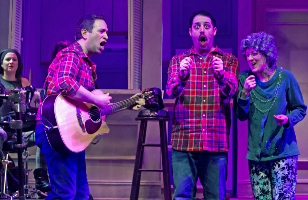 David Rossmer, Steve Rosen, and Kate Wetherhead in The Other Josh Cohen, directed by Ted Sperling at New Jersey's Paper Mill Playhouse.