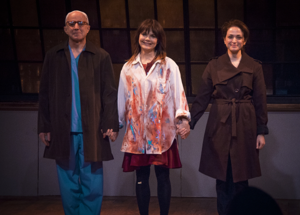 Arliss Howard, Kathryn Erbe, and Roxanna Hope take a bow on the opening night of Ode to Joy.