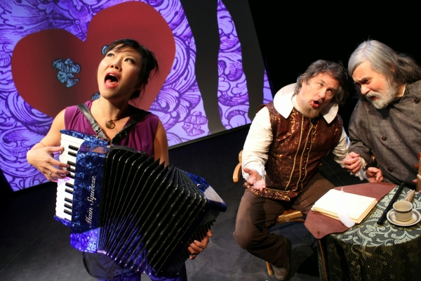 Susan Hwang, Bob Holman, and Julian Kytasty in Captain Smith Goes to Ukraine, directed by Virlana Tkacz, at La MaMa E.T.C.