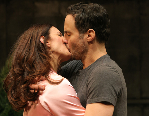 Jessica Hecht and Dominic Fumusa play a pair of actors whose flame is rekindled in Sarah Ruhl's Stage Kiss, a production of Playwrights Horizons directed by Rebecca Taichman.