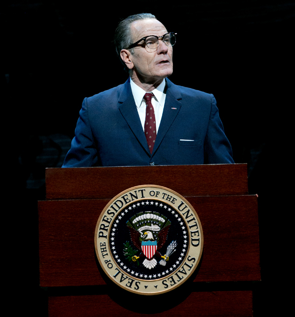 In Robert Schenkkan's All the Way at the Neil Simon Theatre, Bryan Cranston makes his Broadway debut as President Lyndon Baines Johnson.