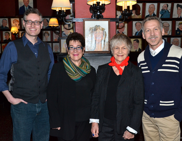 Playwright Eric Coble and director Molly Smith join stars Estelle Parsons and Stephen Spinella for a photo.