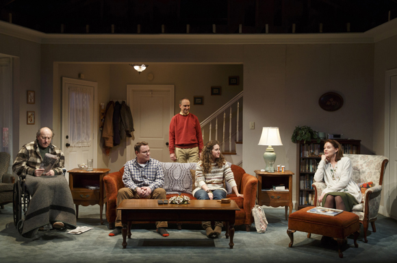 Peter Friedman, Danny McCarthy, Michael Countryman, Hannah Bos, and Carolyn McCormick play the members of an unhappy family in Will Eno's The Open House, directed by Oliver Butler, at Signature Theatre.