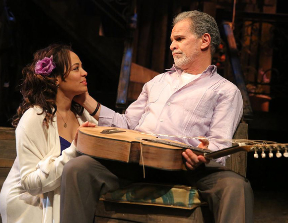 Lauren Vélez as Yaz and Tony Plana as Agustín in Quiara Alegría Hudes' The Happiest Song Plays Last, directed by Ruben Santiago-Hudson, at Second Stage Theatre.