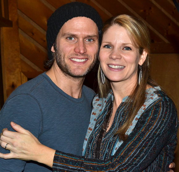 Steven Pasquale and Kelli O'Hara take a break from recording The Bridges of Madison County to pose for a photo.
