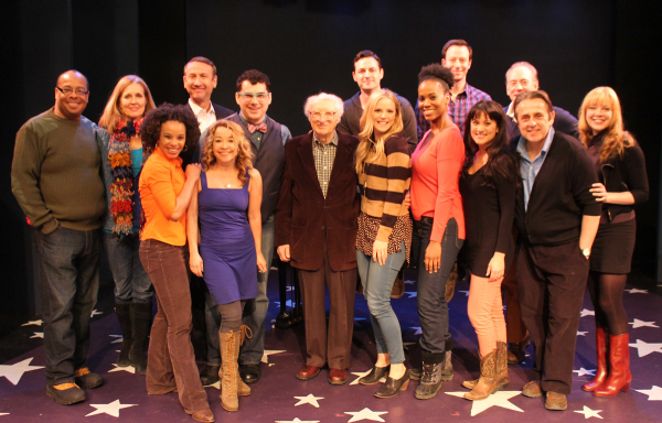 Lyricist Sheldon Harnick (center) with the complete cast of Tenderloin, opening at the York Theatre Company on March 7.