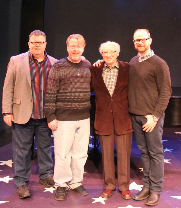 Harnick (third from left) with producing artistic director James Morgan, music director Christopher McGovern, and director Carl Andress.
