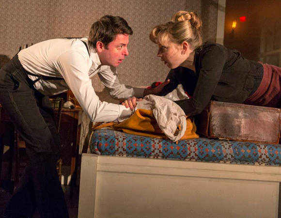 Dominic Rowan as Torvald and Hattie Morahan as Nora in Carrie Cracknell's production of A Doll's House at the Brooklyn Academy of Music.