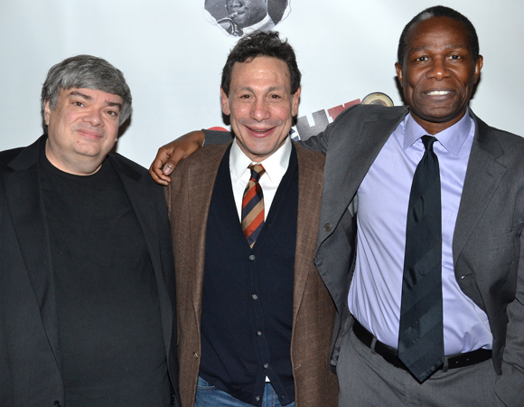 Playwright Terry Teachout, director Gordon Edelstein, and star John Douglas Thompson celebrate the opening of Satchmo at the Waldorf at the Westside Theatre.