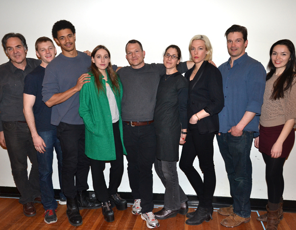 Playwrights Horizons Artistic Director Tim Sanford joins the cast of Your Mother's Copy of the Kama Sutra — Will Pullen, Maxx Brawer, Sarah Sutherland, Kirk Lynn, Anne Kauffman, Rebecca Henderson, Chris Stack, and Zoë Sophia Garcia — for a family photo.