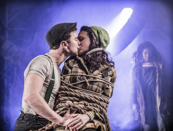 Richard Fleeshman and Rosanna Hyland (as Bobby Strong and Penelope Pennywise) are caught up in a scene from Urinetown at London's St. James Theatre.