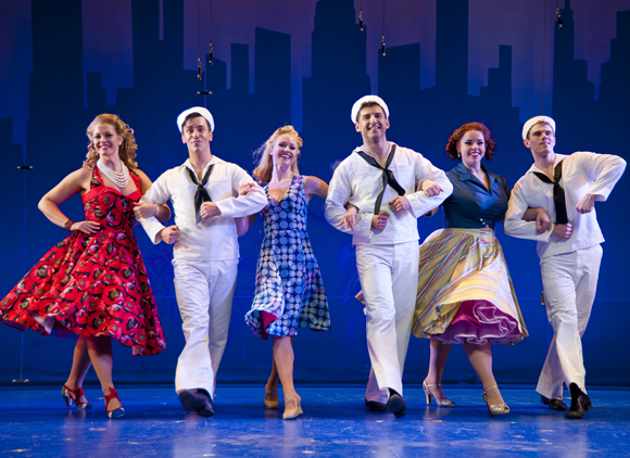 Elizabeth Stanley, Clyde Alves, Deanna Doyle, Tony Yazbeck, Alysha Umphress, and Jay Armstrong Johnson in On the Town at Barrington Stage Company, which will play Broadway this fall.
