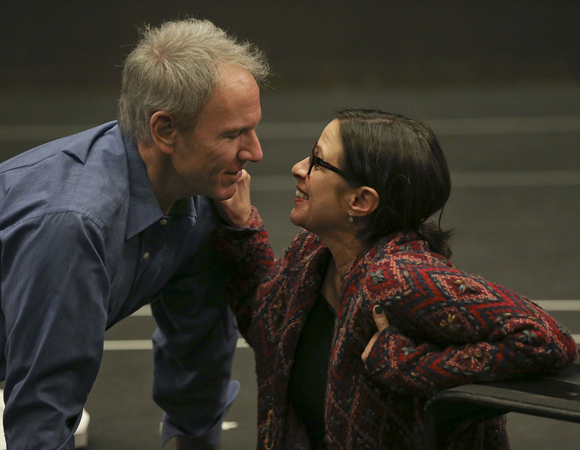 Brian Sutherland and Diane Sutherland rehearse the new musical A Second Chance, which begins performances March 18.