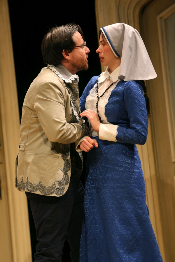 Paul L. Coffey as Angelo and Emily Young as Isabella in Fiasco's Measure for Measure.