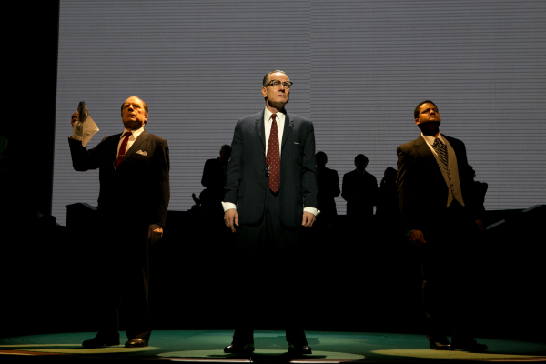 President Lyndon B. Johnson (Bryan Cranston, center) balances the competing interests of J. Edgar Hoover (Michael McKean) and Dr. Martin Luther King Jr. (Brandon J. Dirden) in Robert Schenkkan's All the Way, directed by Bill Rauch, at the Broadway's Neil Simon Theatre.
