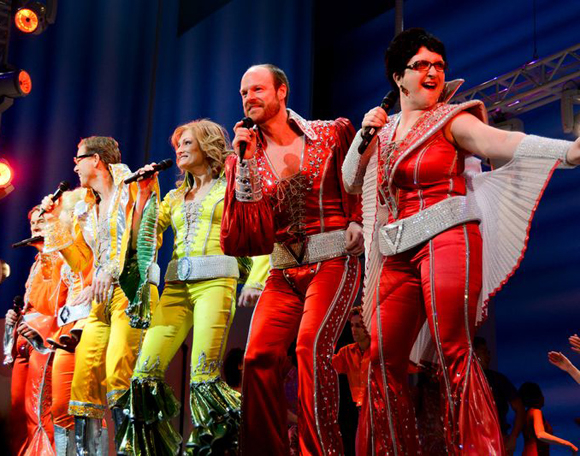 "The stars of Mamma Mia! perform the grand finale, ""Waterloo,"" onstage at the Broadhurst Theatre."