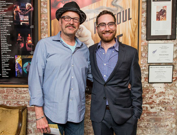 Amoralists Literary Manager Jay Stull (pictured with playwright Mark Roberts at left) will direct two of the plays set for the gritty theater company's AmoralFEST 2014.