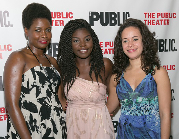 Joaquina Kalukango (center) is joined by cast members Sarah Niles (left) and Charise Castro Smith (right) for an opening night photo.