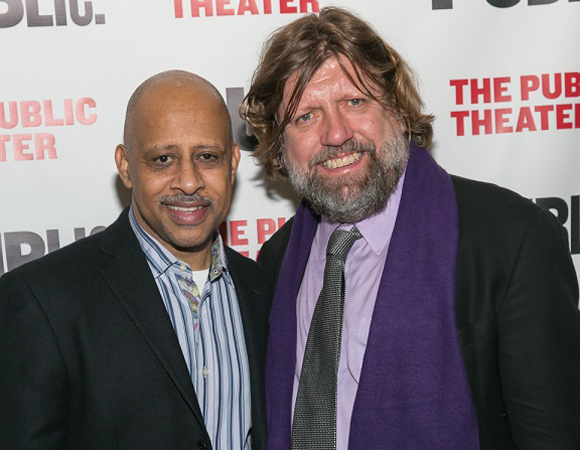 Ruben Santiago-Hudson and Public Theater Artistic Director Oskar Eustis celebrate Antony and Cleopatra.