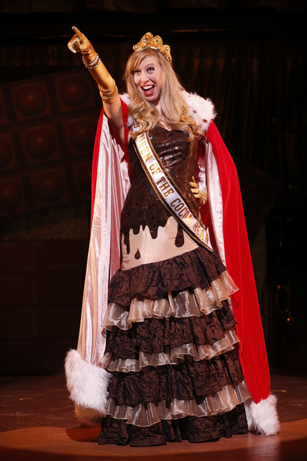 Emily McNamara plays the World Queen of the Cocoa Bean in off-Broadway's The Chocolate Show!, directed by Dan Foster, at the 47th Street Theatre.