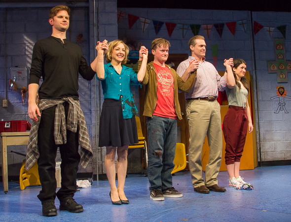 The cast of Hand to God takes a bow on opening night.