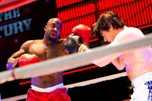 Terence Archie (as Apollo Creed) takes on Andy Karl (as Rocky Balboa) in Rocky at the Winter Garden Theatre.