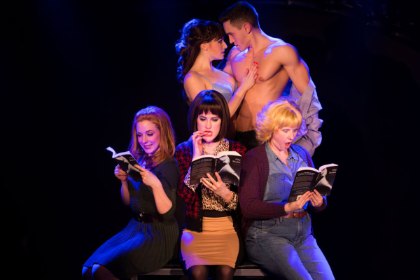 Cast members of 50 Shades! The Musical — The Original Parody, directed by Al Samuels and Rob Lindley, at the Elektra Theatre. Top: Casey Rogers and Alec Varcas; bottom: Kaitlyn Frotton, Chloe Williamson, and Ashley Ward.