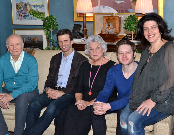 Playwright Terrence McNally (left) and director Sheryl Kaller (right) join Mothers and Sons stars Frederick Weller, Tyne Daly, and Bobby Steggert for a photo in an apartment on Central Park West.