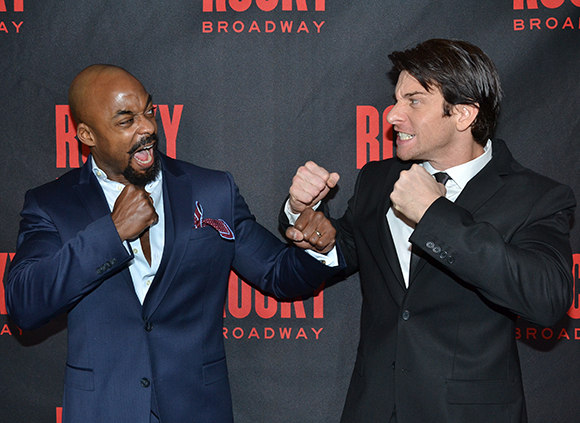 Terence Archie and Andy Karl duke it out on the red carpet at the opening of Rocky on Broadway.