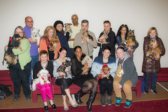 Audra McDonald poses with all of the auditioning puppies.