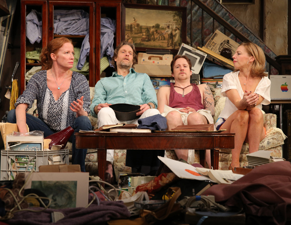 Johanna Day, Michael Laurence, Patch Darragh, and Maddie Corman play the members of a squabbling family in Brandon Jacobs-Jenkins' Appropriate, directed by Liesl Tommy, at Signature Theatre.