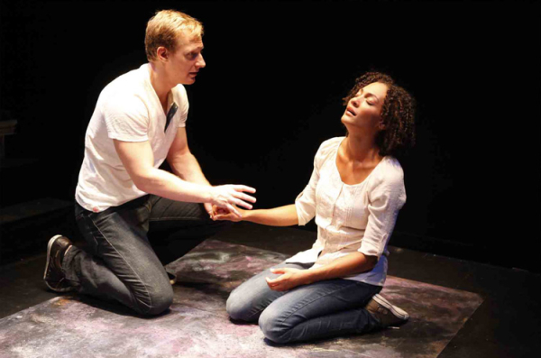 Blake Ellis and Amelia Workman in a 2012 New York City production of Tendern Napalm at 59E59 Theaters.