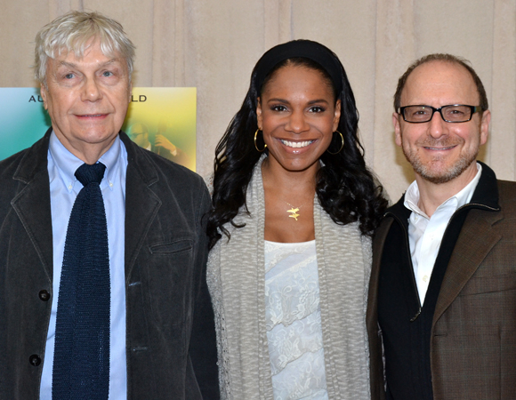 Playwright Lanie Robertson (left) and director Lonny Price flank star Audra McDonald at the press day for the Broadway production of Lady Day at Emerson's Bar & Grill.